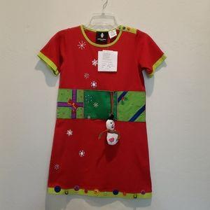 Michael Simon Christmas Dress With Snowman Size 10